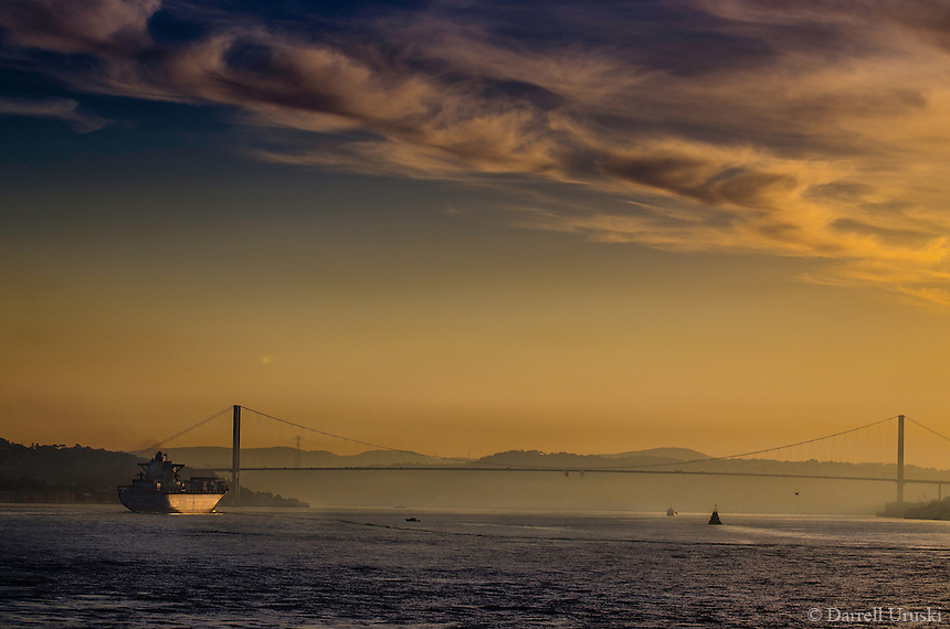 Fine Art Landscape Photograph of a golden sunset on the Bosphorus in Istanbul Turkey.