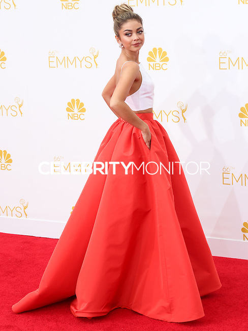 LOS ANGELES, CA, USA - AUGUST 25: Actress Sarah Hyland arrives at the 66th Annual Primetime Emmy Awards held at Nokia Theatre L.A. Live on August 25, 2014 in Los Angeles, California, United States. (Photo by Celebrity Monitor)
