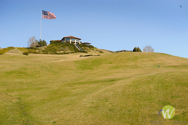 Govenor's Mansion, formally JR Simplot estate. Boise, ID with American flag.