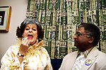 DURBAN - 30 May 2007 - Evita Bezuidenhout (a.k.a Pieter Dirk Uys) shows Durban's deputy mayor Logie Naidoo how to apply the lipstick for an upcoming women's fun walk..Bezuidenhout made this visit in promotion of her show, Evita for President..(For those not in the know Uys has played this character for more than 20 years mocking the political establishment.).Picture: Giordano Stolley/Allied Picture Press