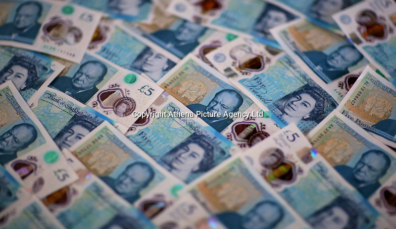A layer of new £5 notes<br />Re: The £5 banknote, featuring prison reformer Elizabeth Fry, will lose their legal tender status on Friday 05 May 2017.<br />Around 150 million of the notes remain in circulation.