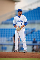 Dunedin Blue Jays relief pitcher Andy Ravel (17) during a game against the Tampa Tarpons on June 2, 2018 at Dunedin Stadium in Dunedin, Florida.  Dunedin defeated Tampa 4-0.  (Mike Janes/Four Seam Images)