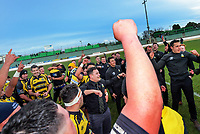 The Yellows team celebrates winning the 2019 Manawatu premier club rugby Hankins Sheild final match between Varsity and Feilding Yellows at CET Arena in Palmerston North, New Zealand on Saturday, 13 July 2019. Photo: Dave Lintott / lintottphoto.co.nz