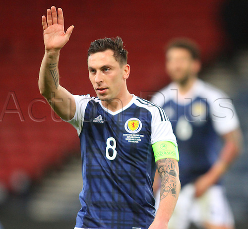 29.03.2016. Hampden Park, Glasgow, Scotland. International Football Friendly Scotland versus Denmark.  Scott Brown waves to the stands after their win