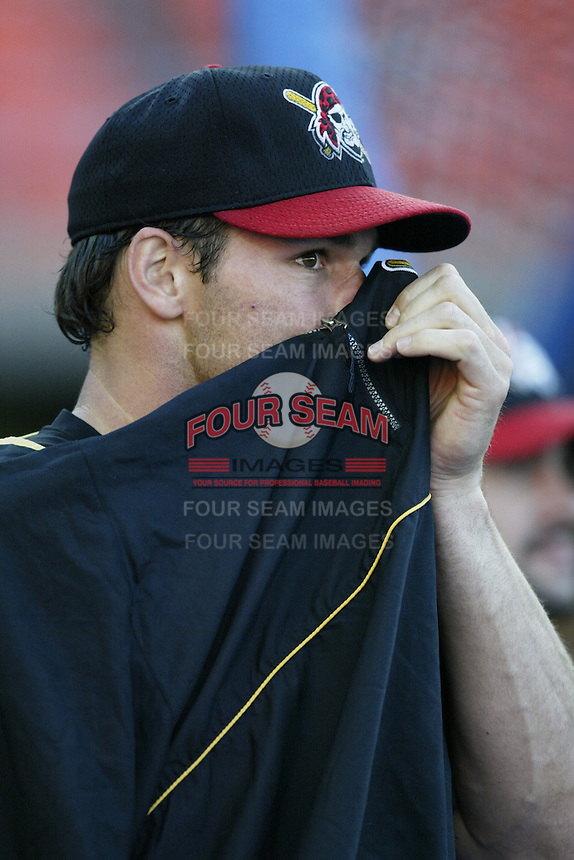 Adam Hyzdu of the Pittsburgh Pirates before a 2002 MLB season game against the Los Angeles Dodgers at Dodger Stadium, in Los Angeles, California. (Larry Goren/Four Seam Images)