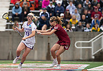 STONY BROOK, NY - MAY 27: Katie Kerrigan #19 of the James Madison Dukes is defended by Carly Bell #10 of the Boston College Eagles during the Division I Women's Lacrosse Championship held at Kenneth P. LaValle Stadium on May 27, 2018 in Stony Brook, New York. (Photo by Ben Solomon/NCAA Photos via Getty Images)