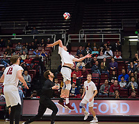STANFORD, CA - January 5, 2019: Eric Beatty, Kyle Dagostino, Paul Bischoff, Jordan Ewert at Maples Pavilion. The Stanford Cardinal defeated UC Santa Cruz 25-11, 25-17, 25-15.