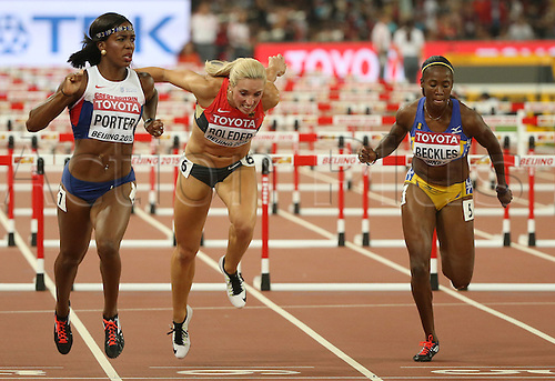 28.08.2015. Birds Nest Stadium, Beijing, China.  (L-R) Tiffany Porter of Great Britain, Cindy Roleder of Germany and Kierre Beckles of Barbados in action during the women's 100m Hurdles Semi-Final at the Beijing 2015 IAAF World Championships at the National Stadium, also known as Bird's Nest, in Beijing, China, 28 August 2015.