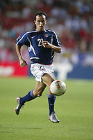 Landon Donovan dribbles the ball. The USA lost to Germany 1-0 in the Quarterfinals of the FIFA World Cup 2002 in South Korea on June 21, 2002.