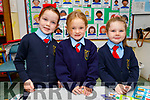 Millie O'Grady, Niamh O'Rourke and Patricia Coffey enjoying their first day in Ballyduff NS on Thursday.