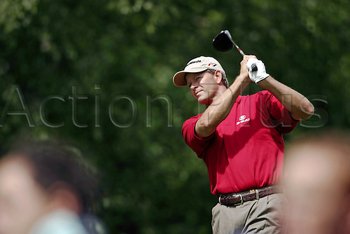 25 May 2006: South African golfer Retief Goosen (RSA) watches his shot from the 4th Tee during the first round of the BMW Championship, played on the West Course at Wentworth. Photo: Glyn Kirk/Actionplus...060525 golf man male