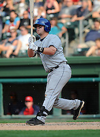 First baseman Bryce Massanari (25) of the Asheville Tourists, Class A affiliate of the Colorado Rockies, in a game against the Greenville Drive on May 1, 2011, at Fluor Field at the West End in Greenville, S.C. Photo by Tom Priddy / Four Seam Images
