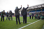 New Blackburn Rovers owners Balaji and Venkatesh Rao (left) waving to the crowd at Ewood Park before the club played host to Aston Villa in a Barclays Premier League match. Blackburn won the match by two goals to nil watched by a crowd of 21,848. It was Rovers' first match under the ownership of Indian company Venky's.