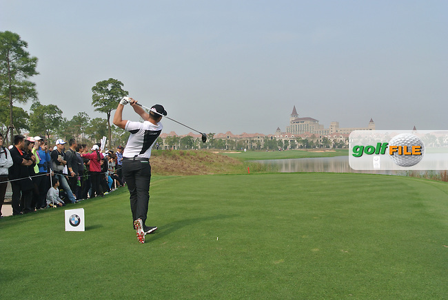 Lucas Bjerregaard (DEN) on the 9th tee during the BMW Masters at Lake Malaren Golf Club in Boshan, Shanghai, China on Sunday 15/11/15.<br /> Picture: Thos Caffrey | Golffile<br /> <br /> All photo usage must carry mandatory copyright credit (&copy; Golffile | Thos Caffrey)