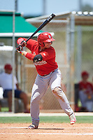 GCL Cardinals catcher Irving Wilson (4) at bat during the second game of a doubleheader against the GCL Marlins on August 13, 2016 at Roger Dean Complex in Jupiter, Florida.  GCL Cardinals defeated GCL Marlins 2-0.  (Mike Janes/Four Seam Images)