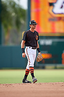GCL Orioles shortstop Andrew Fregia (19) during the first game of a doubleheader against the GCL Twins on August 1, 2018 at CenturyLink Sports Complex Fields in Fort Myers, Florida.  GCL Twins defeated GCL Orioles 7-6 in the completion of a suspended game originally started on July 31st, 2018.  (Mike Janes/Four Seam Images)