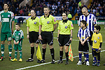 Female referee's assistant Amy Fearn lines up with her colleagues and players before Sheffield Wednesday take on Peterborough United in a Coca-Cola Championship match at Hillsborough Stadium, Sheffield. The home side won by 2 goals to 1 giving Alan Irvine his third straight win since taking over as Wednesday's manager.