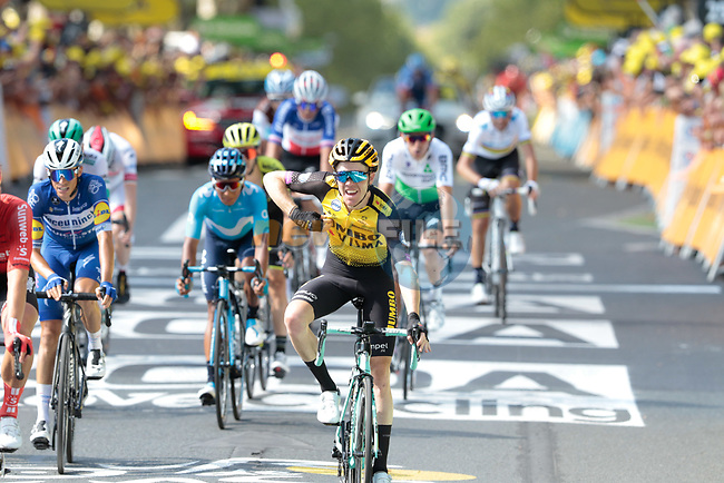 Steven Kruijswijk (NED) celebrates as his team mate Wout Van Aert (BEL) Team Jumbo-Visma wins Stage 10 of the 2019 Tour de France running 217.5km from Saint-Flour to Albi, France. 15th July 2019.<br /> Picture: Colin Flockton | Cyclefile<br /> All photos usage must carry mandatory copyright credit (© Cyclefile | Colin Flockton)