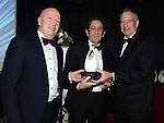 Brian Fitzpatrick and John Delany of The Oriel Seasalt Company receive the Best Start Up Business award from Oliver Tully representing sponsor Louth County Enterprise Board at the Business Excellence Awards in Earth Night Club at the Westcourt Hotel. Photo:Colin Bell/pressphotos.ie