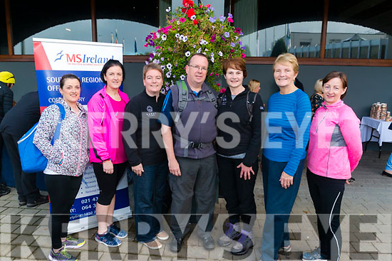 l-r Monica O'Sullivan from Kilcummin, Eileen Kelly from Headford, Killarney, Lesley Trainor from Scotland, Sean Kelly from Scotland, Nula Doolan from Killarney Betty Trainor from Scotland and Mags Kelly from Firies pictured at the MS Walk in the Gleneagle Hotel, Killarney last Sunday morning.