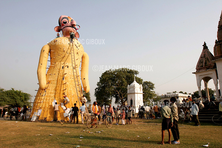.RAMNAGAR, UTTAR PRADESH, INDIA - OCTOBER 2, 2005 : A giant effigy of Surpanaka, the evil sister of the Demon-King Ravana, is being prepared for today's episode (16) of the Ramlila in Ramnagar, on October 2, 2005 . The Ramlila is the play of the Hindu scripture 'the Ramayana' which depict the struggle of the god Ram and his fight against the Demon God Ravana. The Ramlila of Ramnagar has been organized by the Maharaja of Benares since the early 1800s and is still its most authentic rendition, a reference to other Ramlilas. It last for 31 days and is staged over a 10 square mile area. It is the largest play to be produced in the world .(Photo by Jean-Marc Giboux)