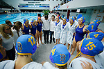 INDIANAPOLIS, IN - MAY 14: UCLA huddles together prior to the Division I Women's Water Polo Championship against Stanford University held at the IU Natatorium-IUPUI Campus on May 14, 2017 in Indianapolis, Indiana. (Photo by Joe Robbins/NCAA Photos/NCAA Photos via Getty Images)