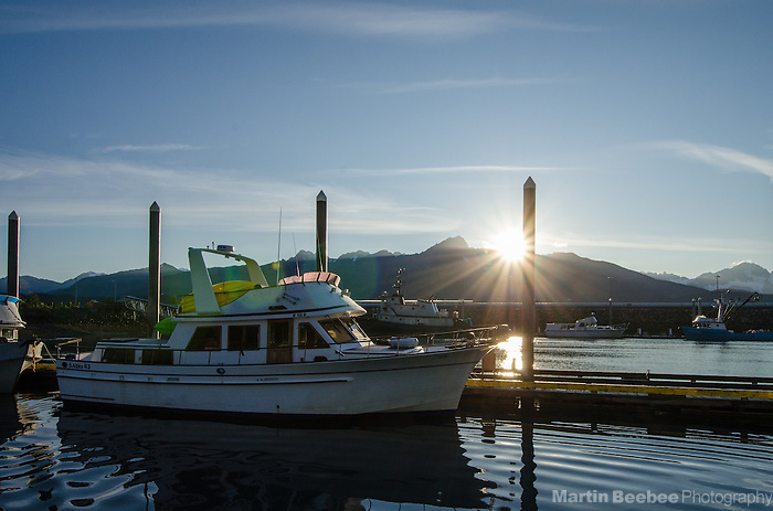 Sunrise over the mountains above Seward, Alaska