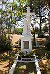 Hawaii: Molokai, leper colony at Kaulaupapa, grave of female leader..Photo himolo155-71862.Photo copyright Lee Foster, www.fostertravel.com, lee@fostertravel.com, 510-549-2202