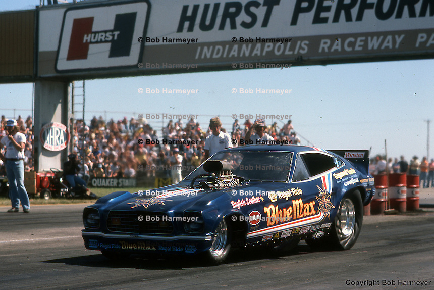 INDIANAPOLIS, INDIANA: Raymond Beadle drives the Blue Max funny car during the 1976 NHRA US Nationals in Indianapolis, Indiana.