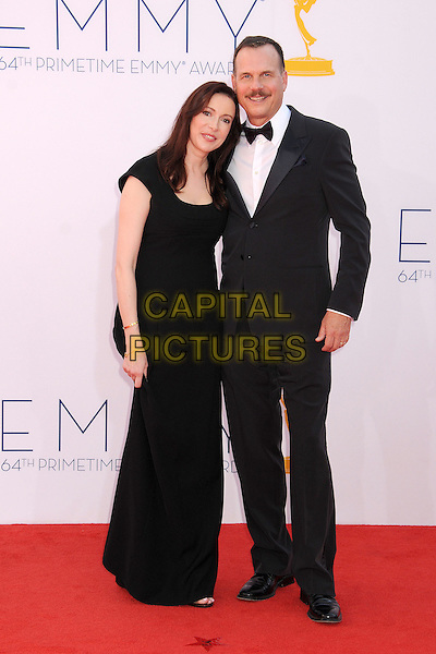 guest & Bill Paxton.The 64th Anual Primetime Emmy Awards - Arrivals, held at Nokia Theatre L.A. Live in Los Angeles, California, USA..September 23rd, 2012.emmys full length black white shirt bow tie tuxedo dress moustache mustache facial hair .CAP/ADM/BP.©Byron Purvis/AdMedia/Capital Pictures.