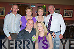 30th: Dave O'Sullivan from Lixnaw who celebrated his 30th birthday in Kirby's Brogue Inn, Tralee on Saturday night with family and friends. Dave (birthday boy) and Catherine O'Sullivan, Con and Mary O'Sullivan (Tralee), Helen and Denis Murnane(Lixnaw)..