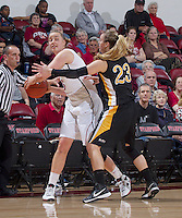 Stanford's Mikaela Ruef is being guarded by  Long Beach States's Mary Ochiltree during Saturday, November 25, 2012 game at Stanford against Long Beach State.. Stanford won 77-41.
