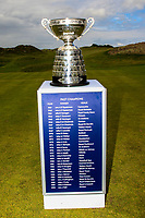 The winner's trophy on display at the 1st tee during Matchplay Final of the Women's Amateur Championship at Royal County Down Golf Club in Newcastle Co. Down on Saturday 15th June 2019.<br /> Picture:  Thos Caffrey / www.golffile.ie<br /> <br /> All photos usage must carry mandatory copyright credit (© Golffile | Thos Caffrey)