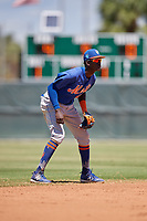 GCL Mets shortstop Ronny Mauricio (2) during a game against the GCL Cardinals on August 6, 2018 at Roger Dean Chevrolet Stadium in Jupiter, Florida.  GCL Cardinals defeated GCL Mets 6-3.  (Mike Janes/Four Seam Images)
