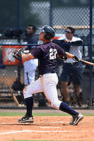GCL Yankees 1 third baseman Drew Bridges (27) at bat during the second game of a doubleheader against the GCL Braves on July 1, 2014 at the Yankees Minor League Complex in Tampa, Florida.  GCL Braves defeated the GCL Yankees 1 by a score of 3-1.  (Mike Janes/Four Seam Images)