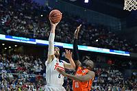 MADRID, ESPAÑA - 11 DE JUNIO DE 2017: Nocioni ante Sato durante el partido entre Real Madrid y Valencia Basket, correspondiente al segundo encuentro de playoff de la final de la Liga Endesa, disputado en el WiZink Center de Madrid. (Foto: Mateo Villalba-Agencia LOF)