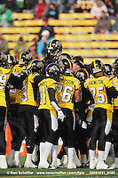October 31, 2009; Hamilton, ON, CAN;  Hamilton Tiger-Cats defence huddles prior to the game. CFL football: Saskatchewan Roughriders vs. Hamilton Tiger-Cats at Ivor Wynne Stadium. The Tiger-Cats defeated the Roughriders 24-6. Mandatory Credit: Ron Scheffler. Copyright (c) 2009 Ron Scheffler.