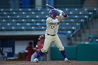 Andrew Robinson (17) of the Western Carolina Catamounts at bat against the Saint Joseph's Hawks at TicketReturn.com Field at Pelicans Ballpark on February 23, 2020 in Myrtle Beach, South Carolina. The Hawks defeated the Catamounts 9-2. (Brian Westerholt/Four Seam Images)