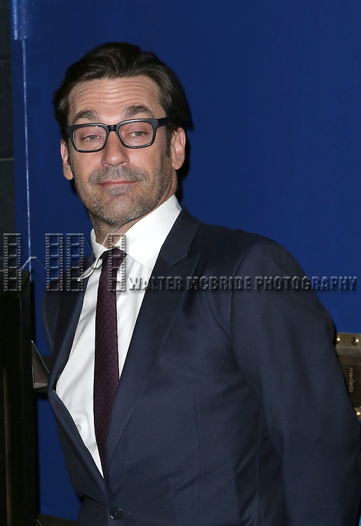 Jon Hamm attends the Off-Broadway opening Night Performance of 'Billy & Ray' at the Vineyard Theatre on October 20, 2014 in New York City.
