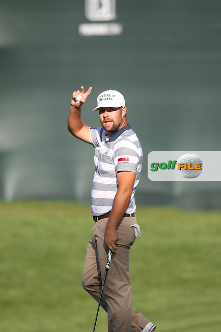 Ryan Moore of USA acknowledges the crowd on the 18th green and finishing as leader at 9 under par during the 3rd round of the Valspar Championship, Innisbrook Resort (Copperhead), Palm Harbor, Florida, USA<br /> Picture: Peter Mulhy / Golffile