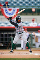 Daytona Tortugas second baseman Dilson Herrera (2) at bat during a game against the Florida Fire Frogs on April 8, 2018 at Osceola County Stadium in Kissimmee, Florida.  Daytona defeated Florida 2-1.  (Mike Janes/Four Seam Images)