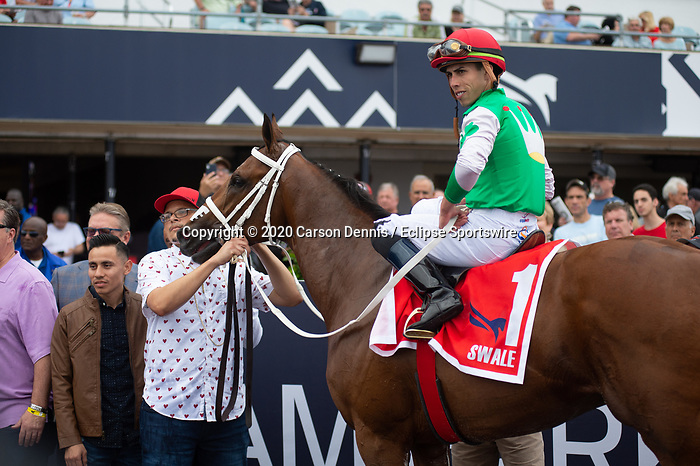 February 1, 2020: #1, Mischievous Alex with Irad Ortiz Jr. up for Trainer John Servis win the $150,000 Grade III Swale Stakes at Gulfstream Park on February 1, 2020 in Hallandale Beach, FL. (Photo by Carson Dennis/Eclipse Sportswire/CSM)