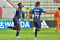 17th November 2019; Bezerrao Stadium, Brasilia, Distrito Federal, Brazil; FIFA U-17 World Cup football 3rd placed game 2019, Netherlands versus France; Arnaud Kalimuendo-Muinga of France celebrates his goal in the 54th minute 1-2 - Editorial Use