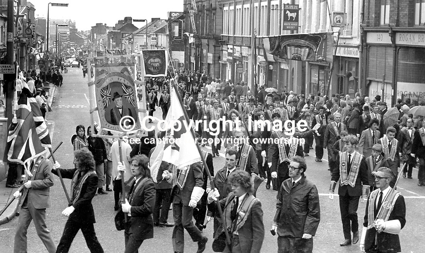 Orangemen taking part in their annual Twelfth celebration in Belfast, N Ireland, UK, 12th July 1972. 197207120422b<br />