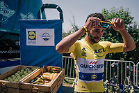 yellow jersey / GC leader Fernando Gaviria (COL/Quick Step Floors) at the teambus before the start<br /> <br /> Stage 2: Mouilleron-Saint-Germain &gt; La Roche-sur-Yon (183km)<br /> <br /> Le Grand D&eacute;part 2018<br /> 105th Tour de France 2018<br /> &copy;kramon