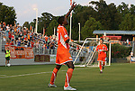 23 June 2012: Carolina's Breiner Ortiz (COL) (20) celebrates his first professional goal with Zack Shilawski (22). The Carolina RailHawks defeated FC Edmonton 2-0 at WakeMed Soccer Stadium in Cary, NC in a 2012 North American Soccer League (NASL) regular season game.