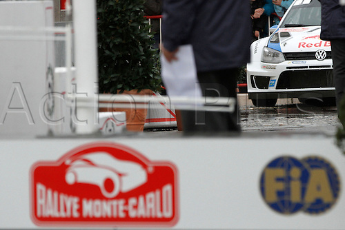 19.01.2014. Monte Carlo, Monaco. The WRC Monte Carlo rally conclusion.  Sebastien Ogier (FR) with his winning car