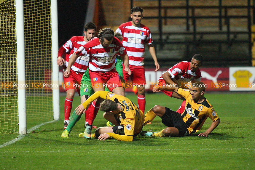 goalmouth scramble - Cambridge United vs Mansfield Town -FA Challenge Cup 2nd Round Football at the Abbey Stadium, Cambridge - 06/12/14 - MANDATORY CREDIT: Mick Kearns/TGSPHOTO - Self billing applies where appropriate - contact@tgsphoto.co.uk - NO UNPAID USE