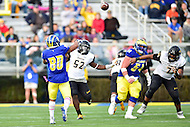 Newark, DE - OCT 29, 2016: Delaware Fightin Blue Hens wide receiver Diante Cherry (80) throws a touchdown on a trick play during game between Towson and Delaware at Delaware Stadium Tubby Raymond Field in Newark, DE. (Photo by Phil Peters/Media Images International)