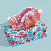 Fifty Pound note as tissue ExclusiveImage
